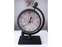 METAL CLOCK MAP, FREE STANDING, QUARTZ, WORKING, ANTIQUE VINTAGE GLOBE STYLE, DESK BEDROOM KITCHEN