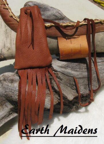 "Deer Leather Medicine Bag 4""h x 2 1/2""w  William Lattie Cherokee Made Cert Auth"