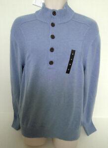 BANANA-REPUBLIC-Mens-Light-Blue-1-2-Button-Turtleneck-Sweater-Size-M-XXL-NWT