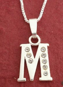 Sterling Silver Initial Letter A to Z Pendant Necklace 925 CZ Charm n Chain
