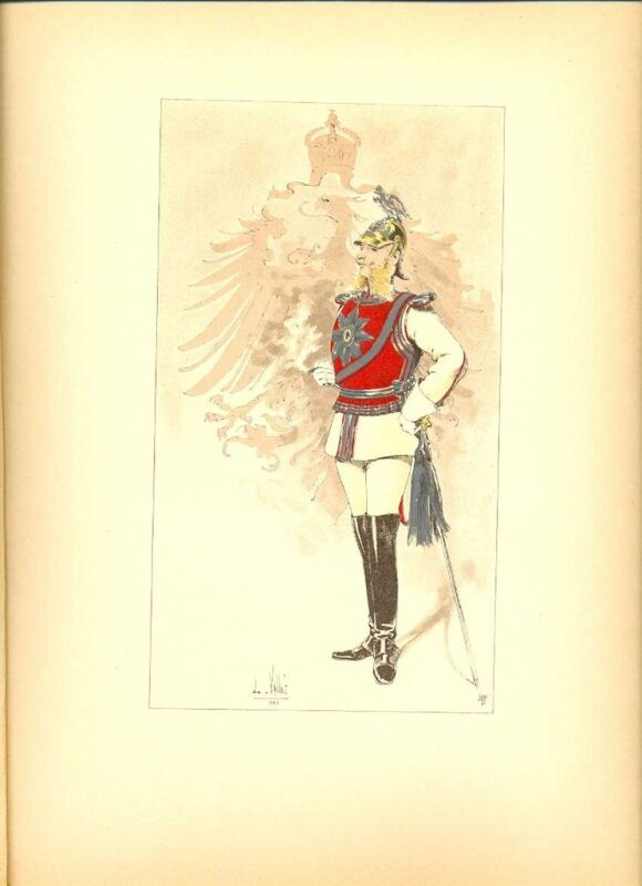 Germany Guards Officer Prussia Lithography Vallet 1891
