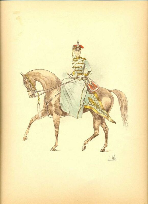 Germany Princess Hussar Colonel Lithography Vallet 1893