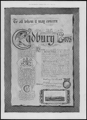 1904 Antique ADVERTISING Print - CADBURY BROTHERS Chocolate Statement (117)
