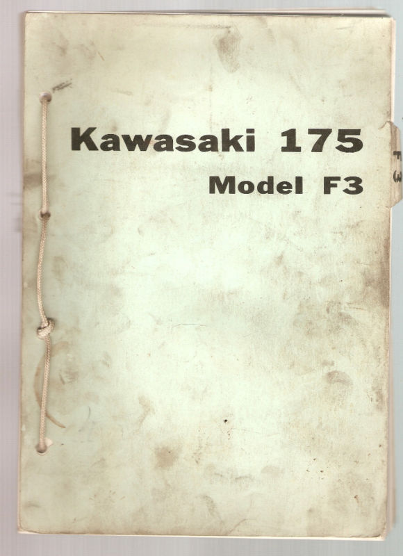 Kawasaki Motorcycle 175  Model F3  Parts Book  1968
