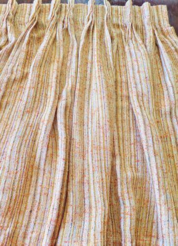 "Vintage 1970s Burnt Orange Pinch Pleated Curtain Drape Slub Woven 33""W X 35.5""L"