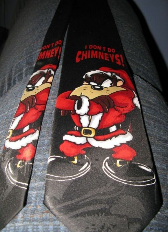 """Taz Santa Christmas Tie """"I Don't Do Chimneys"""" Black with Red EXCELLENT"""