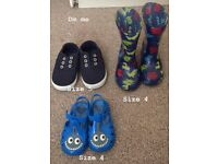 Kids shoes bundle- plimsoles, wellies and jelly shoes/sandals