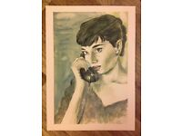 Large Audrey Hepburn a3 print of original watercolour and ink painting Retro vintage