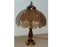 Table Lamp in wood and brass effect, with etched glass shades