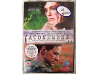 NEW and in sealed cellophane packaging ATONEMENT DVD with Keira Knightley. Can post. £1.50.