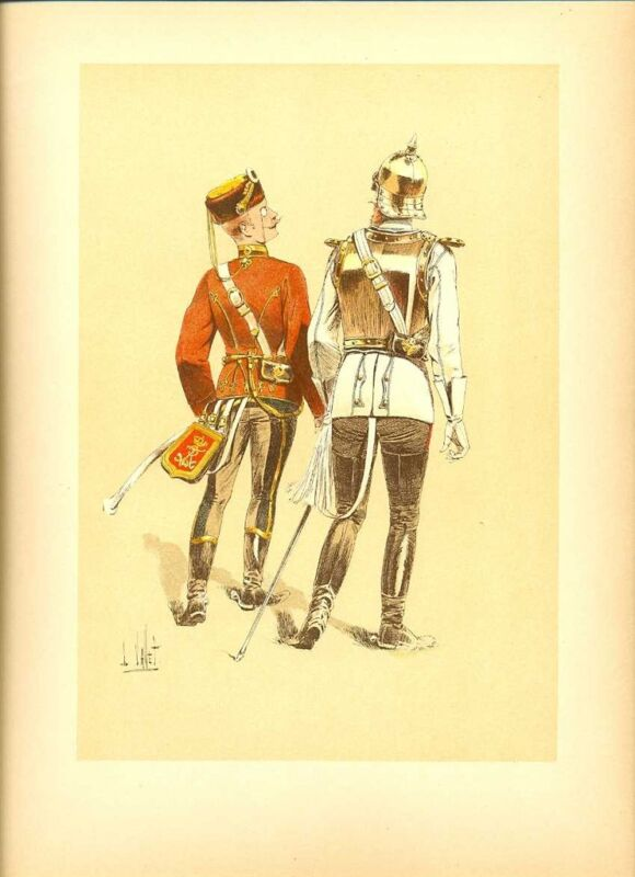 Germany 4th Hussars R Officer Lithography Vallet 1893