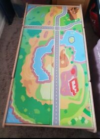 Childrens wooden activity train play table with drawer