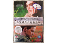 NEW and in sealed cellophane packaging ATONEMENT DVD with Keira Knightley.