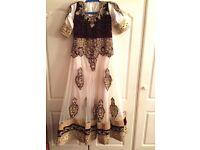 Heavy white&purple maxi dress