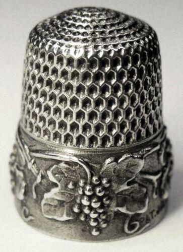 "Antique Simons Bros. Sterling Silver Thimble  ""Grape"" Design  C1910s"
