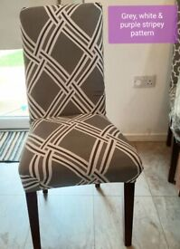 New 4 dining chair removable spandex covers in stripy design