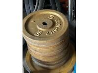 """8x10kg £30 a pair 1"""" weights cast iron"""