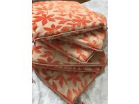 Orange floral,Garden patron seat pads x 6