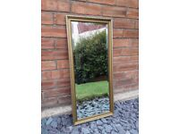 Tall Rectangle Modern Bedroom/Living Room Solid Pine Gold Colour Mirror