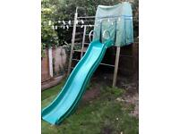 Kids wooden climbing frame with slide
