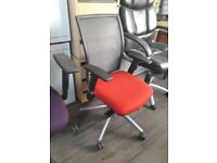 FLASH OFFICE SALE - The ELITE Lorrento Ergonomic Mesh office desk chair in 'Xtreme Lobster' Red