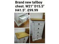 Brand new tallboy chest of drawers