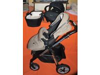SILVER CROSS PIONEER PRAM, PUSHCHAIR STROLLER AND CAR SEAT- SAND COMPLETE PACKAGE