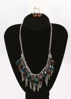 Stunning Necklace & Earrings Set Premium Fashion Jewelry Silver Tone jxyv New