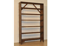 Attractive Large Tall Simple Vintage Rustic Pine Open Shelves Bookcase Storage
