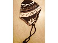 Ladies' Brown Hippy Flake Ski Winter Tassle Sherpa Style Beanie Hat