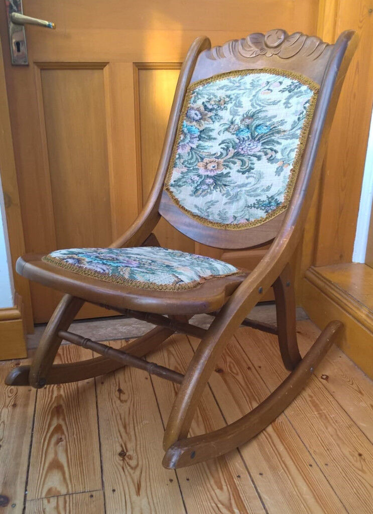 Small Folding Wooden Rocking Chair, Antique Style, From 1960s/70s