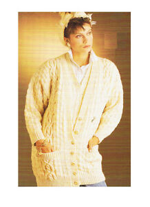 Vintage Knitting Pattern~Ladies Aran Twin-Set Cardigan~Slipover~32-38in/81-97cm
