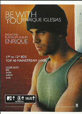 ENRIQUE IGLESIAS Be With you Trade AD POSTER for Enrique CD MINT 2000