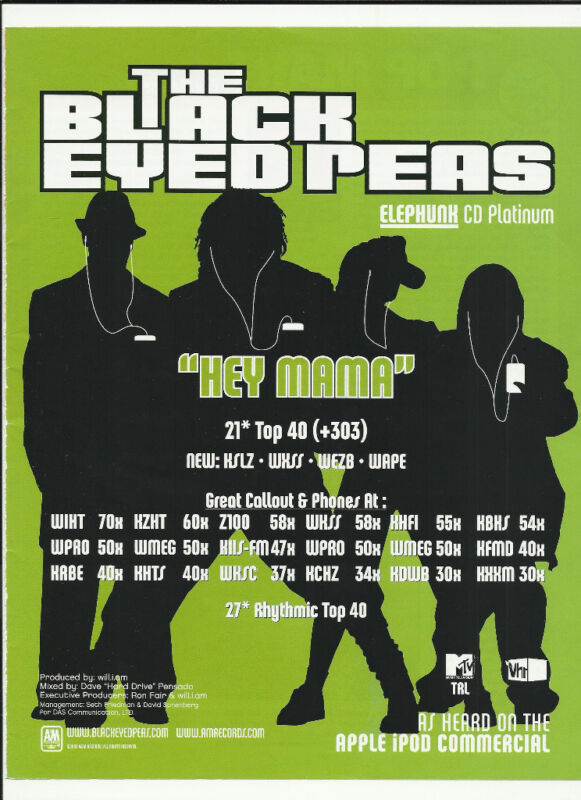 BLACK EYED PEAS Hey Mama TRADE AD POSTER for 1999 Elephunk CD Fergie Will.i.am