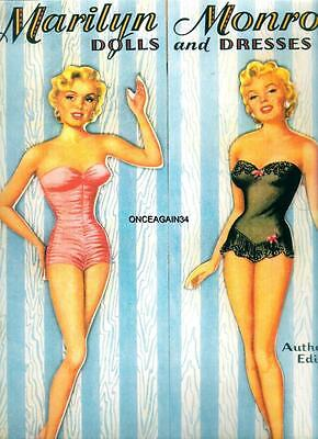 VINTAGE UNCUT 1953 MARILYN MONROE PAPER DOLLS~FREE SHIPPING~#1 REPRODUCTION~RARE