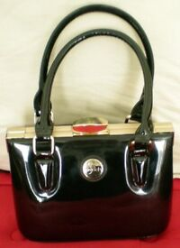 Lovely Black Patent Handbag By Peach