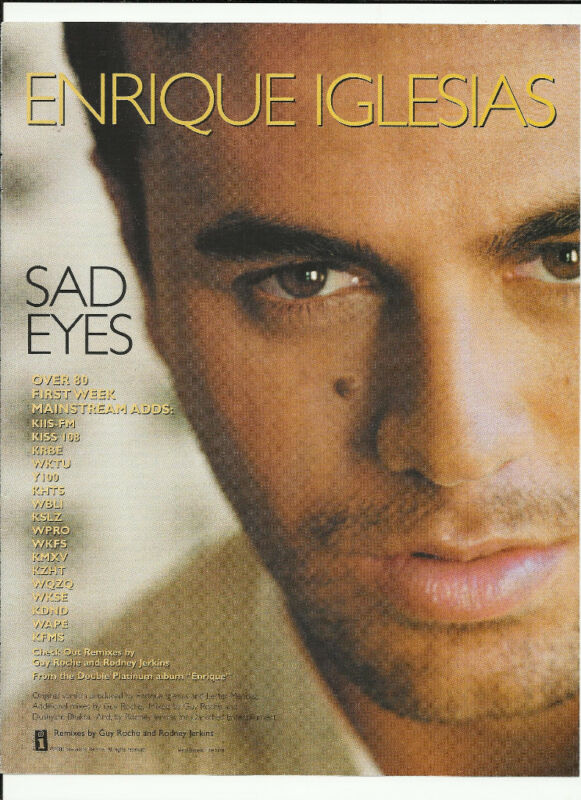 ENRIQUE IGLESIAS Sad Eyes Trade Ad POSTER of Enrique CD