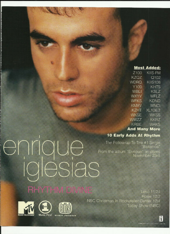 ENRIQUE IGLESIAS Rhythm Divine Trade AD POSTER for Enrique CD 1999 MINT