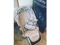 Icandy peach silvermint lower carrycot and seat unit with adapters