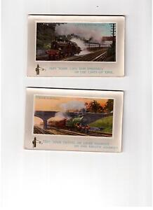 2 cartes postales anciennes de TRAINS du Royaume-Uni (postcards)