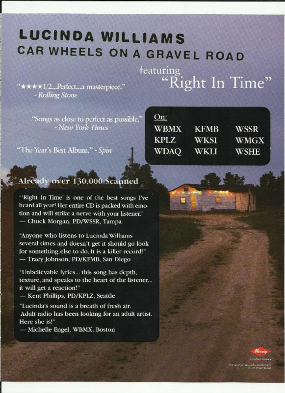 LUCINDA WILLIAMS Right in Time Trade Ad POSTER 4 Car CD