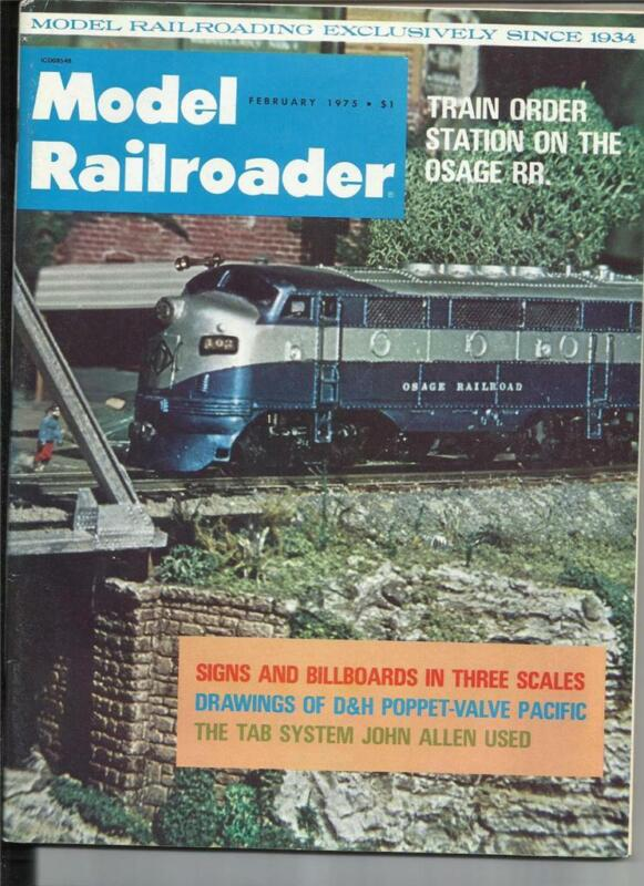 Model Railroader February 1975 Common RR Signs D&H Puppet-Valve Engine Drawing