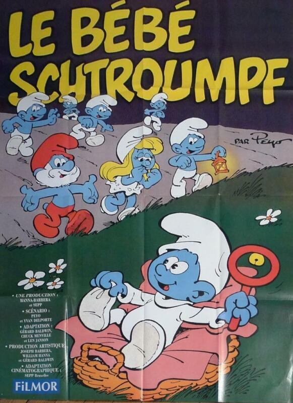 LE BEBE SCHTROUMPF / THE BABY SMURF - PEYO - ORIGINAL LARGE MOVIE POSTER