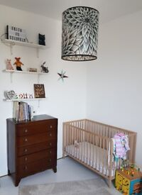 Minimalist Design Cot in Beach Wood. Excellent Condition (dismantled for pick up on request)