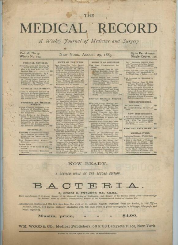 8/29 1885 New York Medical Record Journal Medicine Surgery Doctor Trade Magazine