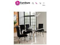 Chrome & Black dining table with 6 crushed velvet chairs