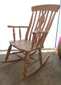 Solid OAK Rocking Chair Handmade Rustic Traditional Style