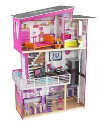 Kidkraft Luxury Dolls House with working lamp and playing piano.