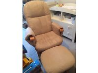 Gliding recliner nursing chair with footstool
