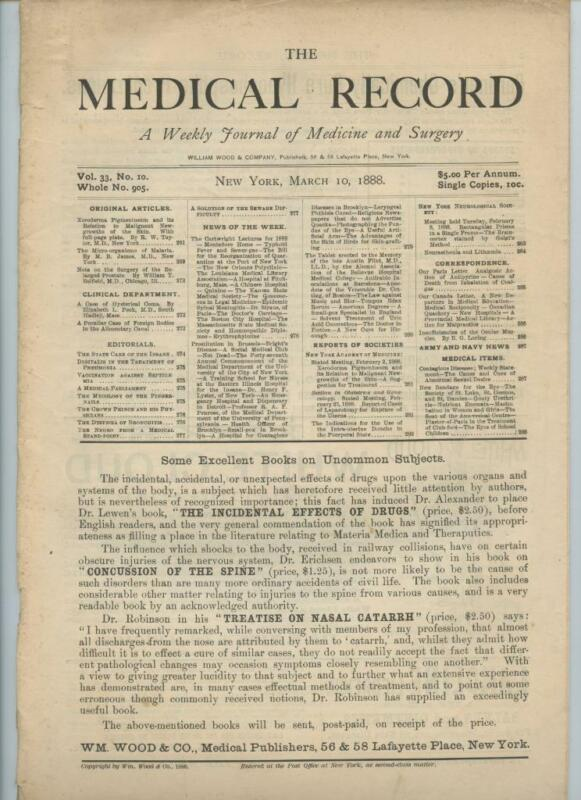 3/10 1888 New York Medical Record Journal Medicine Surgery Doctor Trade Magazine